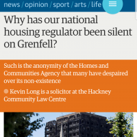 Why has our national housing regulator been silent on Grenfell?